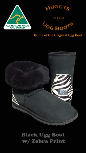 Black Ugg Boot w Zebra