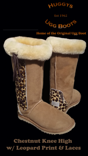 Chestnut Knee High w Leopard Print and Laces