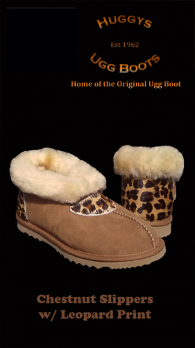 Chestnut Slippers w Leopard