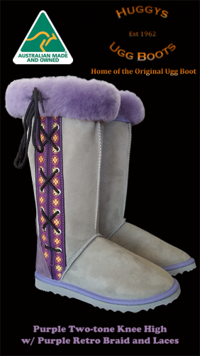 Purple Two-tone Knee High w Purple Retro Braid and Laces