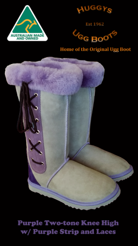 Purple Two-tone Knee High w Purple Strip and Laces